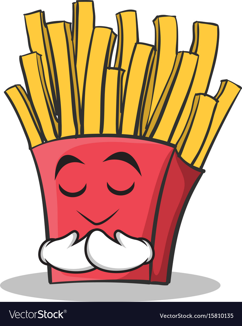 Praying face french fries cartoon character vector image