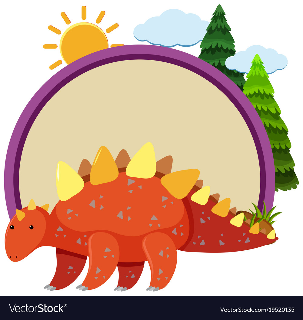 Stegosaurus And Round Border Vector Image