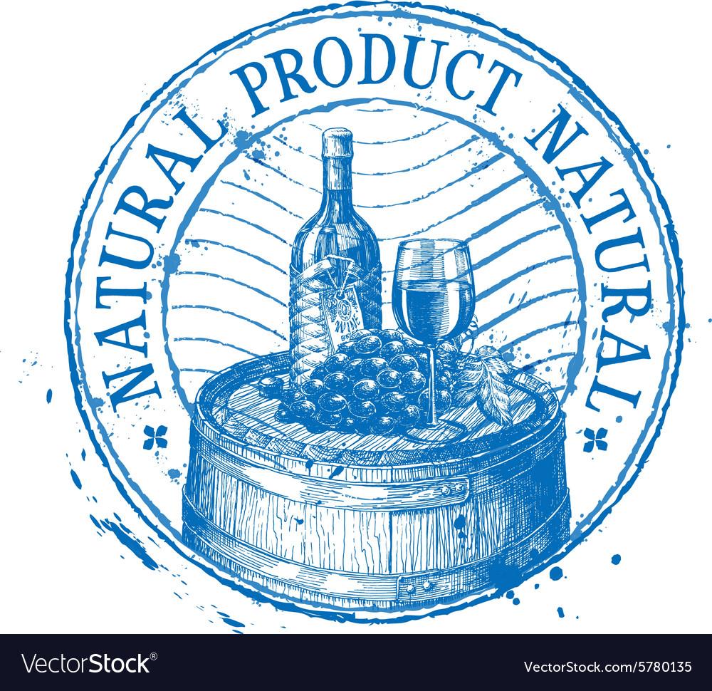 Wine logo design template shabby stamp or