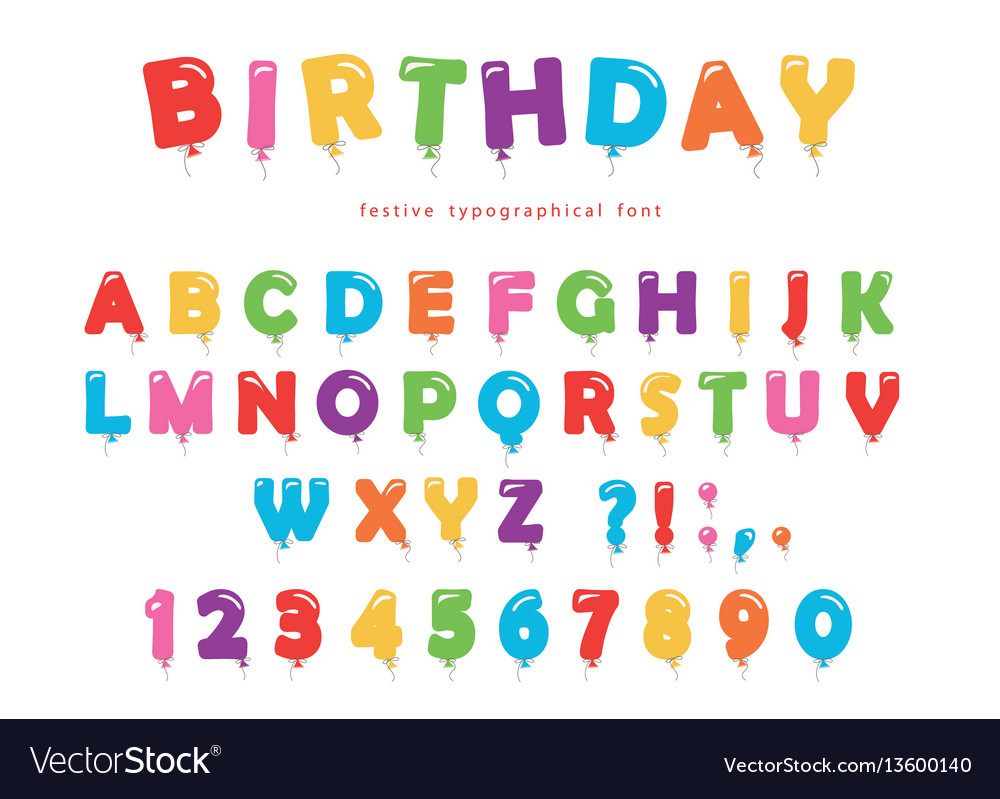 Birthday balloon font festive abc letters and