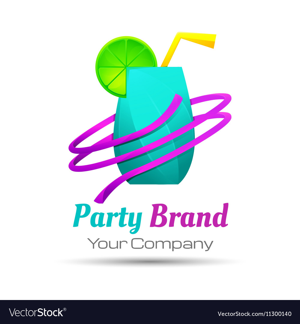 Colorful party cocktail icon Concept for bar menu