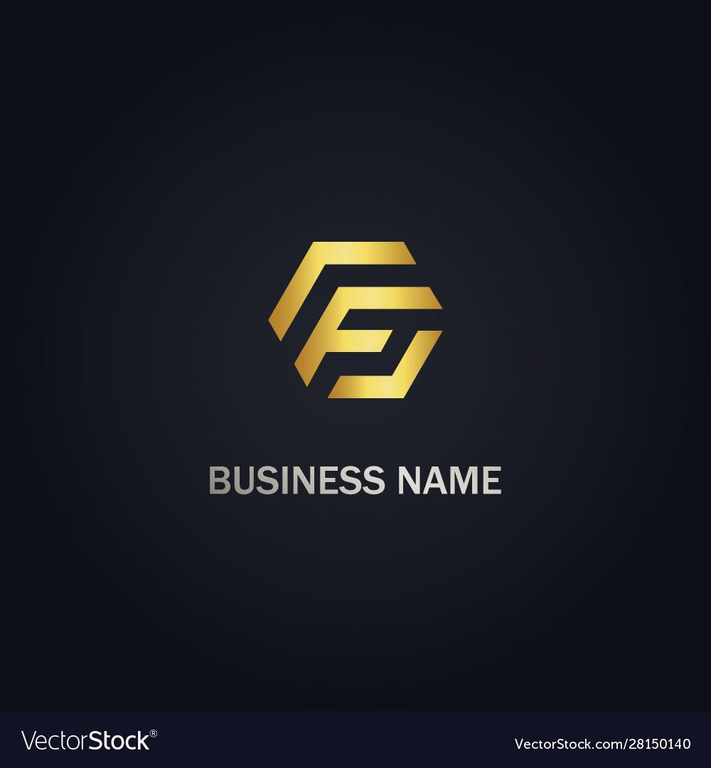F initial shape gold logo