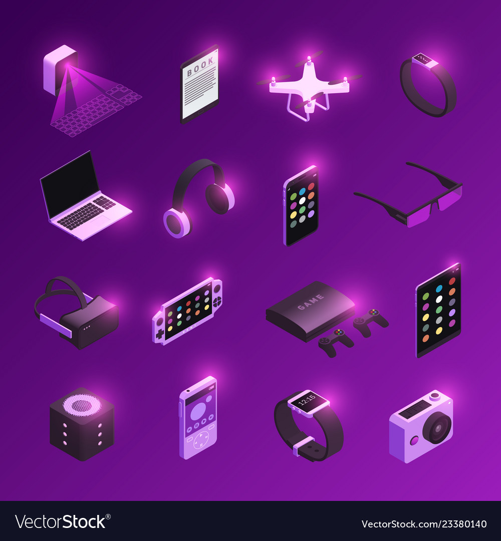 Gadgets isometric icons set
