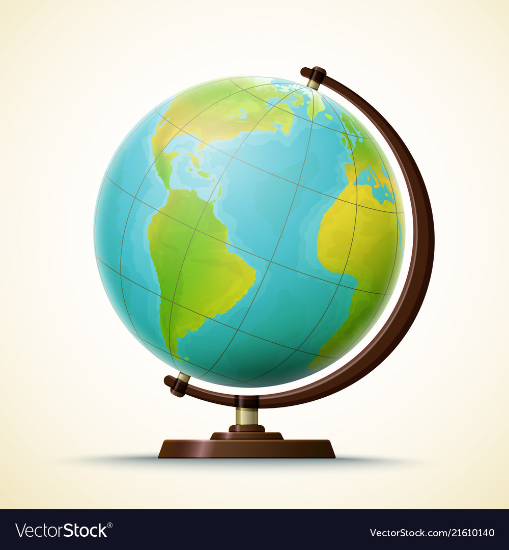 Realistic School Globe Geographical World Map Vector Image