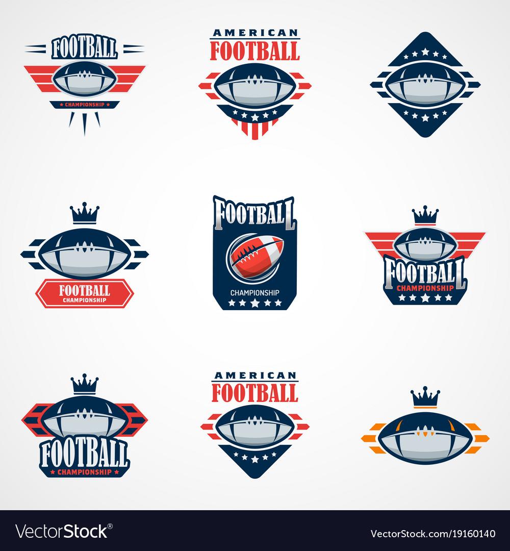 Set of american football logo template college vector image maxwellsz