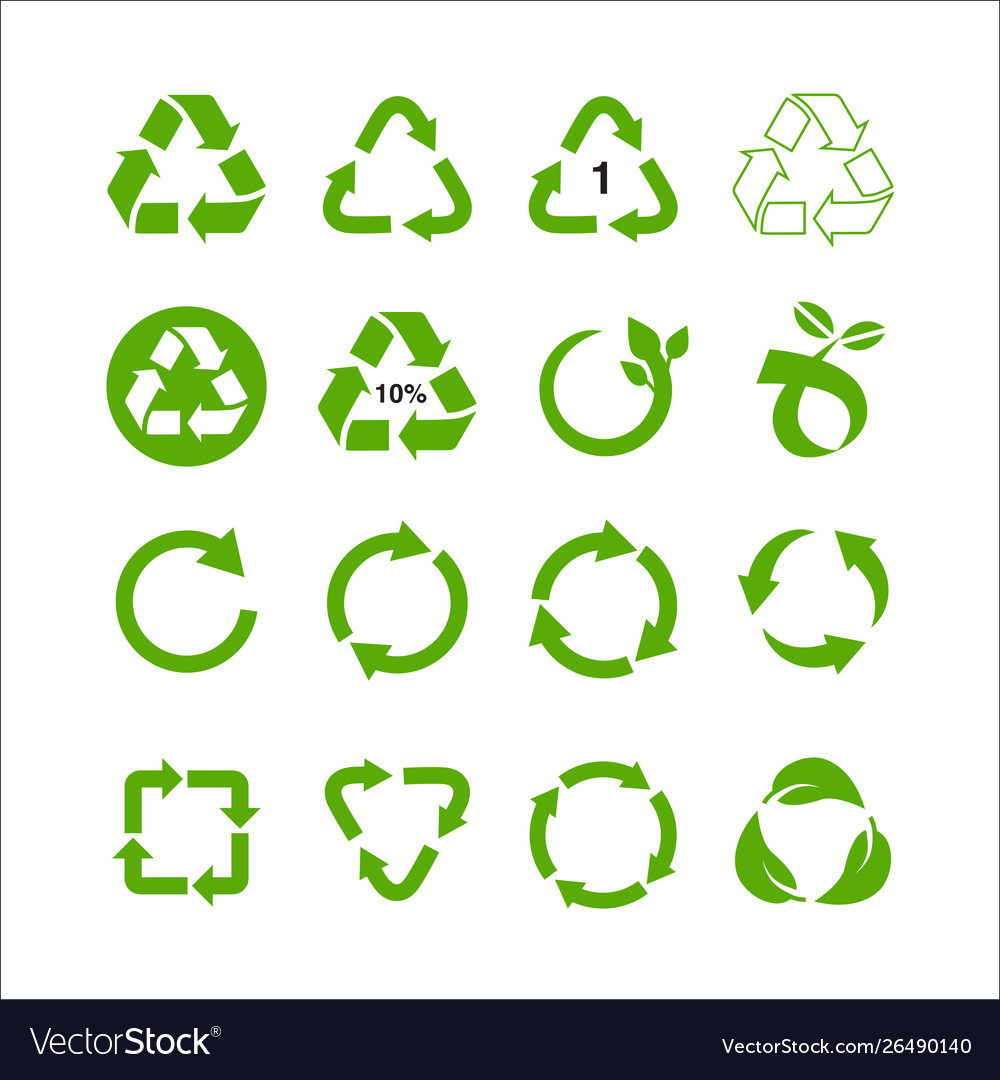 Set recycle symbol isolated