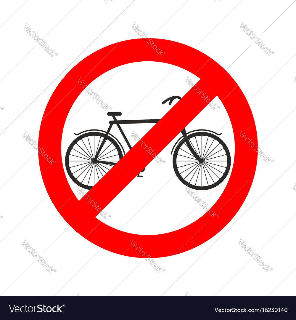 Stop cyclist bicycle on red ring road sign ban