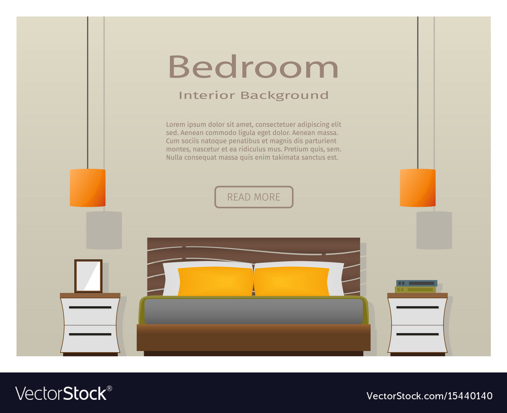 Web design banner of modern bedroom interior with