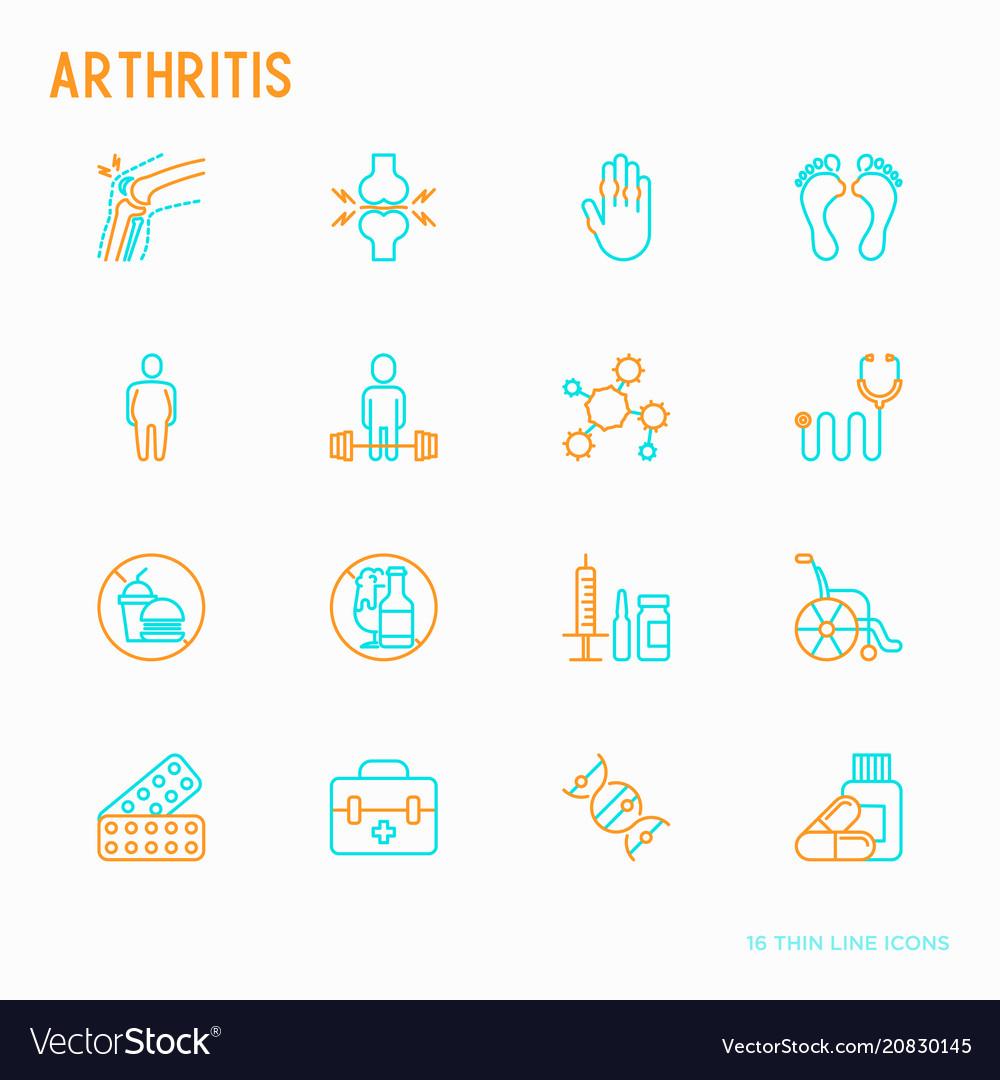 Arthritis thin line icons set