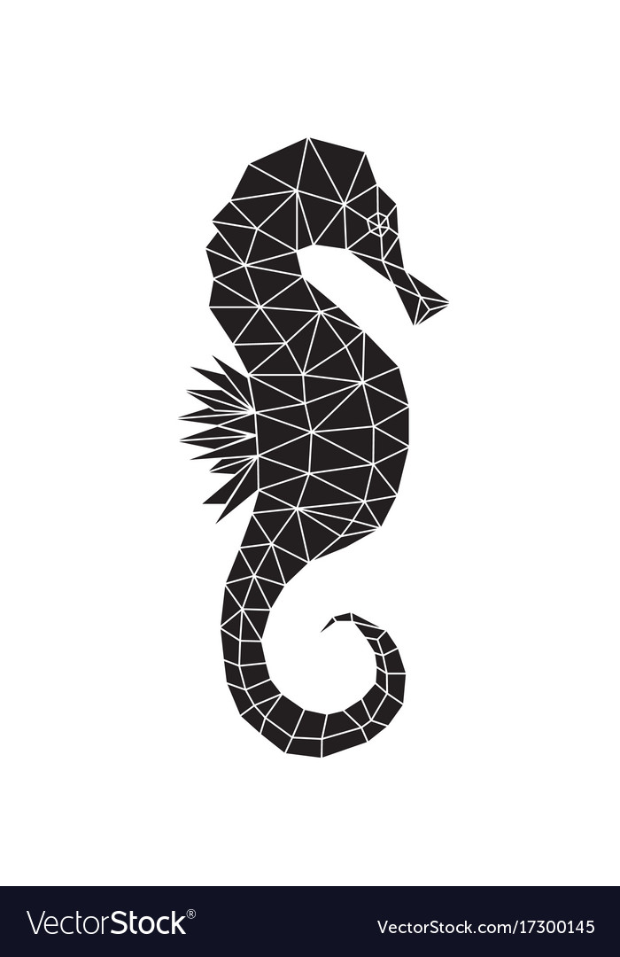 Black silhouette of seahorse