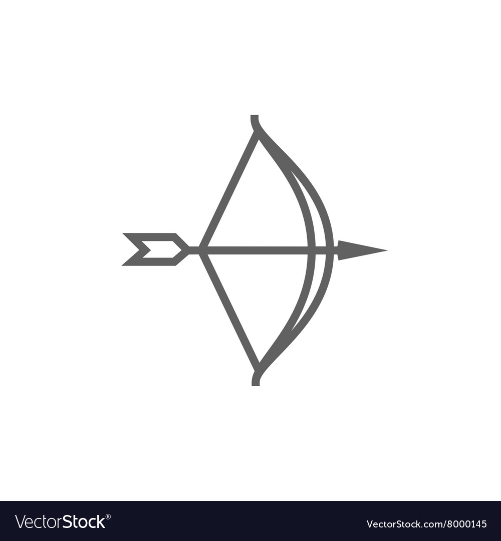 Bow and arrow line icon vector image
