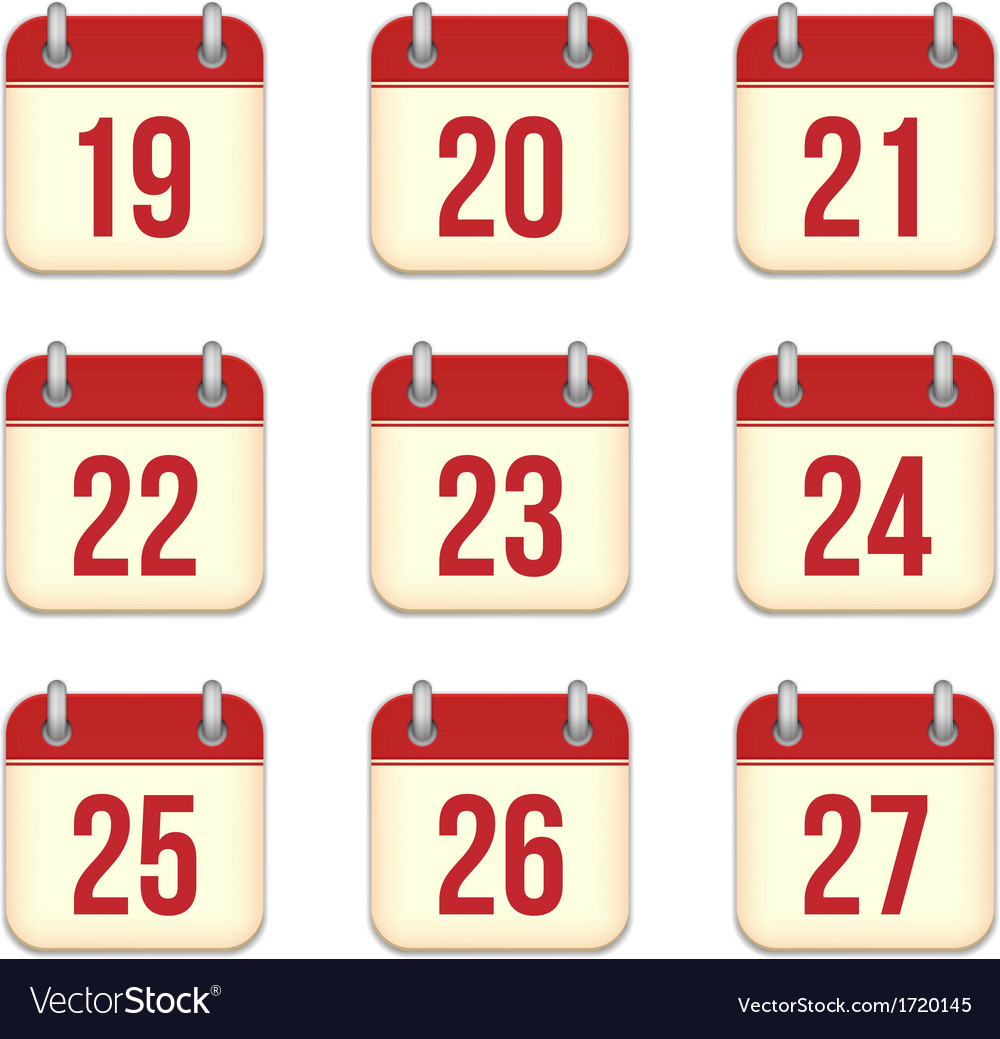Calendar App Icons 19 To 27 Days Royalty Free Vector Image