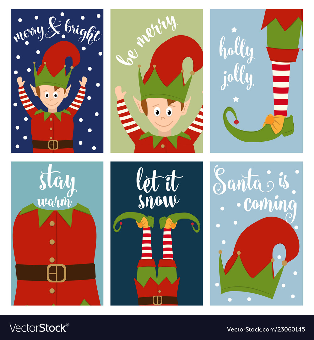 Christmas card collection with elves