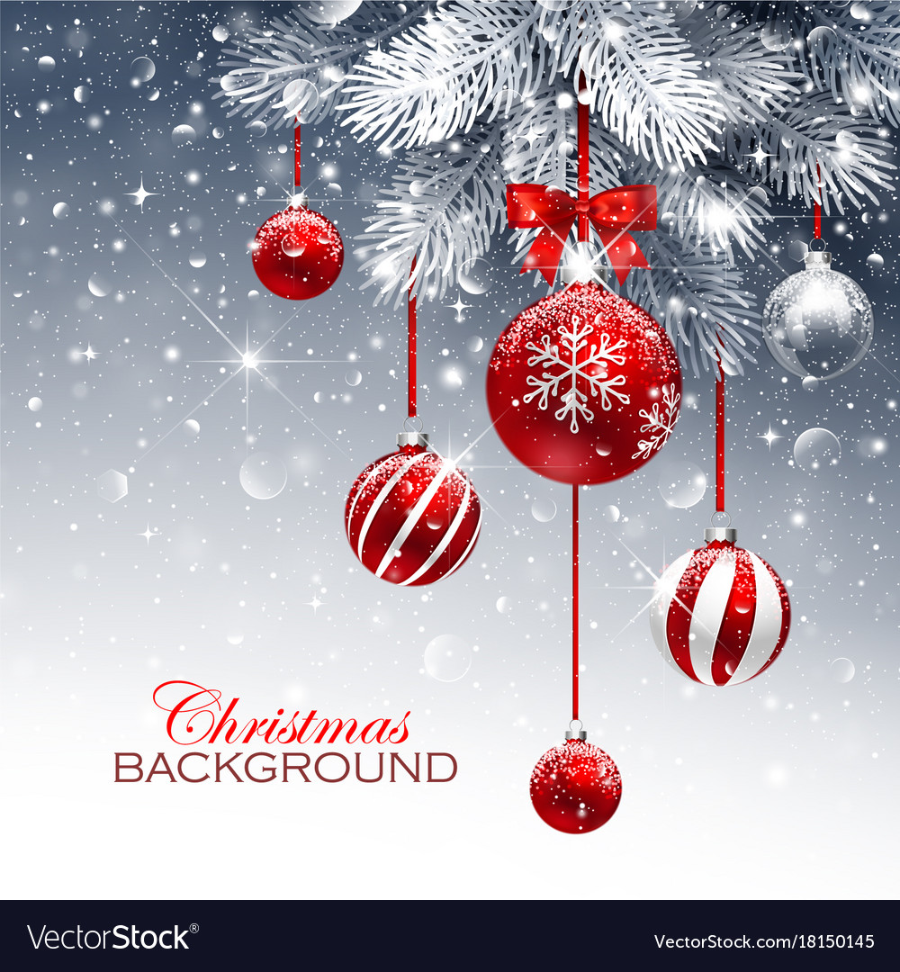 Christmas card with red balls and snow