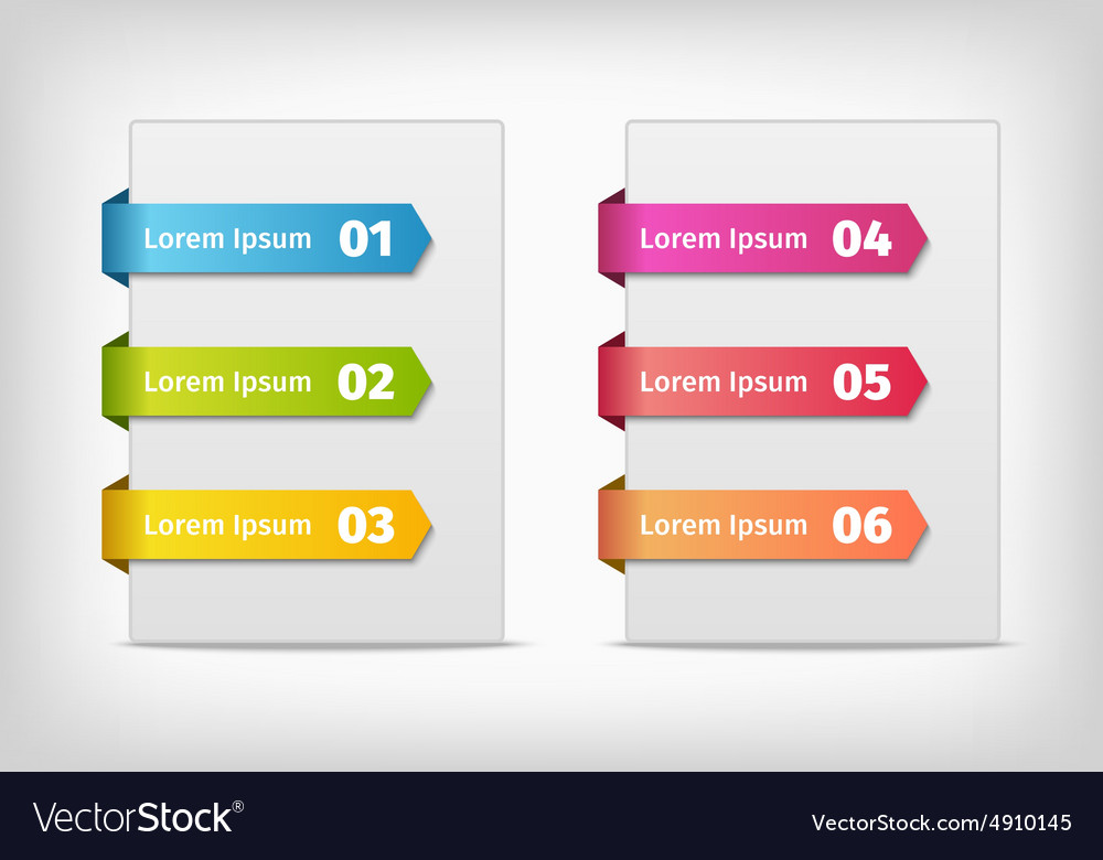 Colorful stickers with arrows and numbers