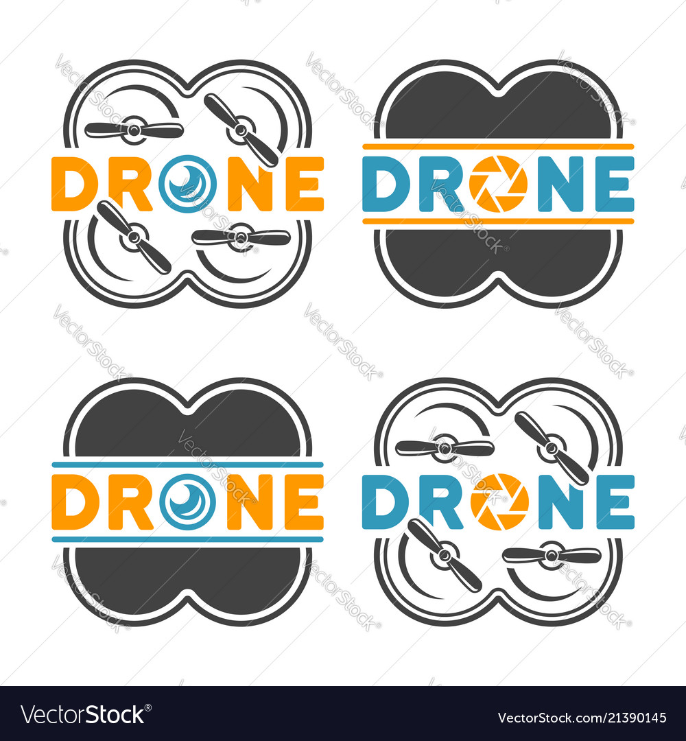Drones and quadrocopters colored design elements
