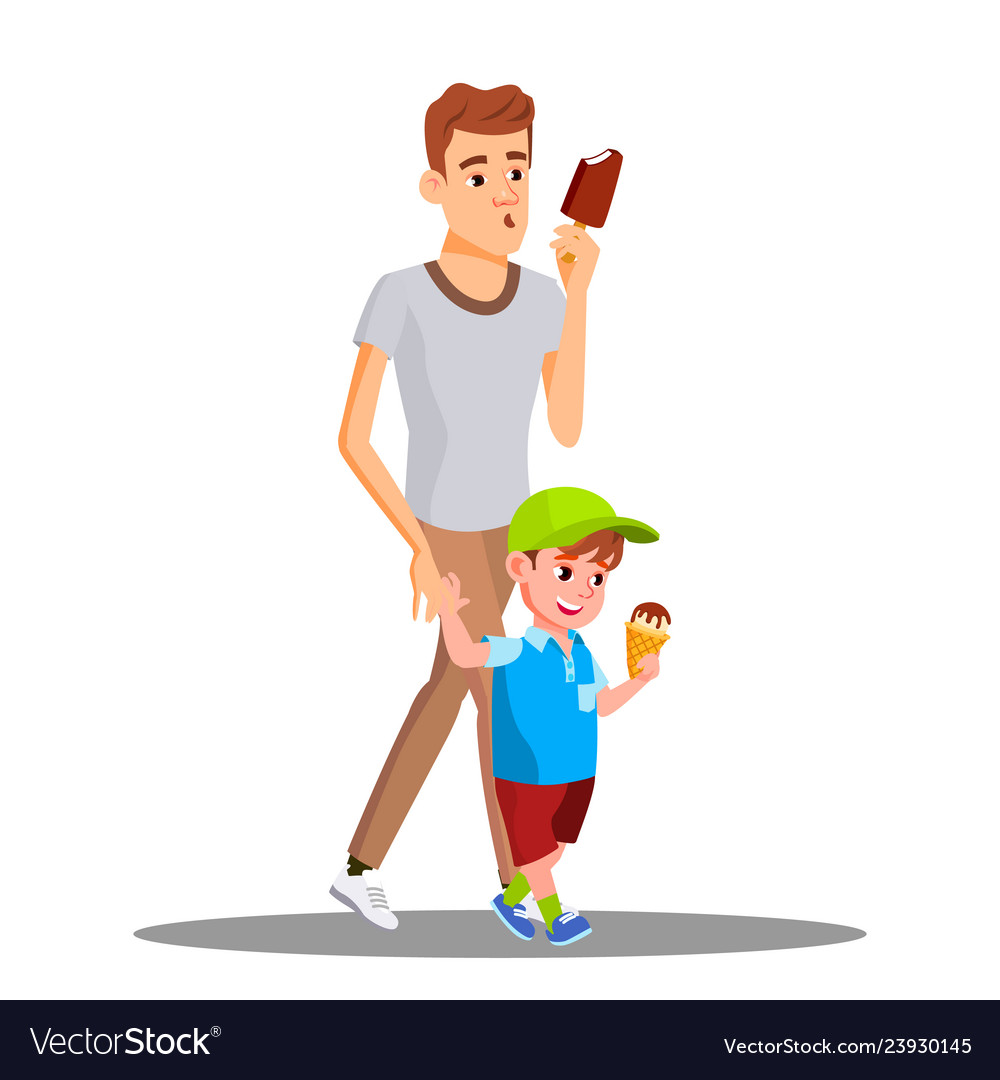 Father and son enjoy eating ice cream