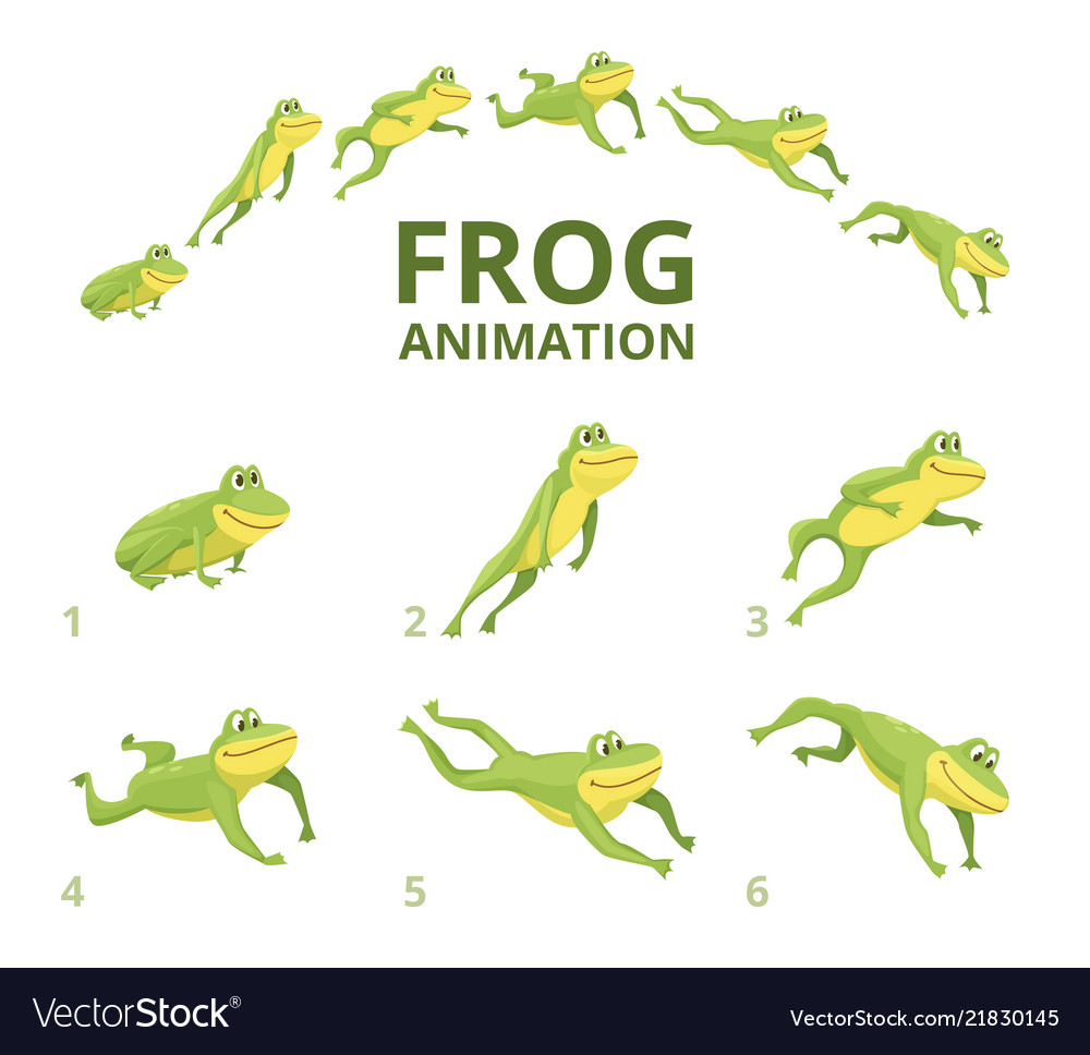 Frog jumping animation various keyframes for
