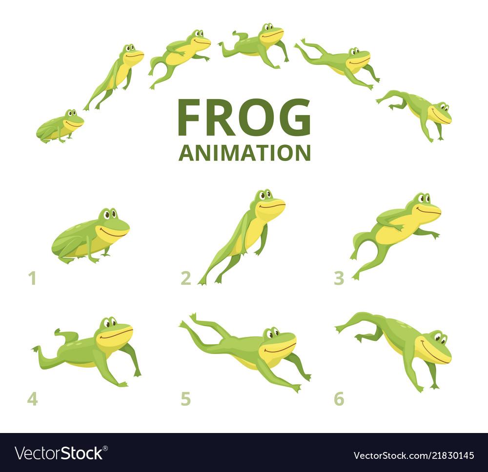 Frog jumping animation various keyframes