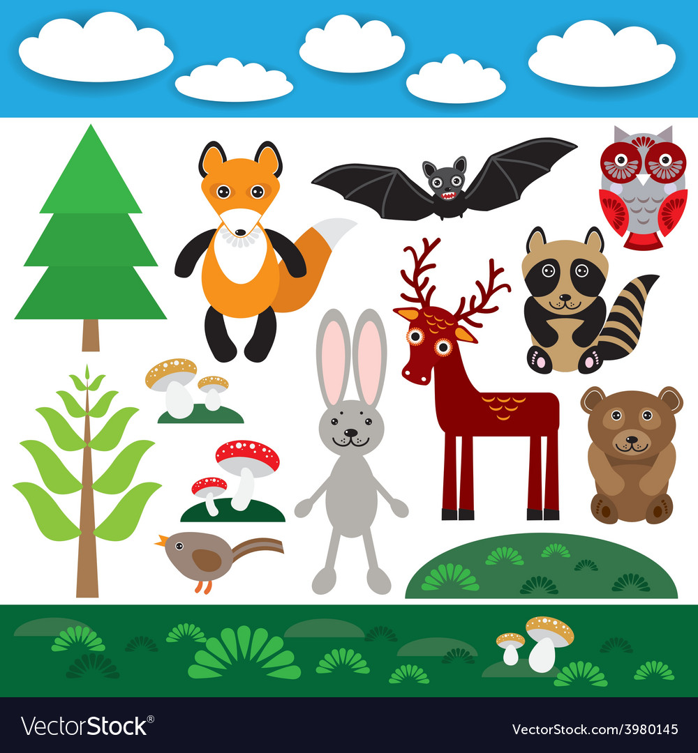 Funny set of cute wild animals forest and clouds