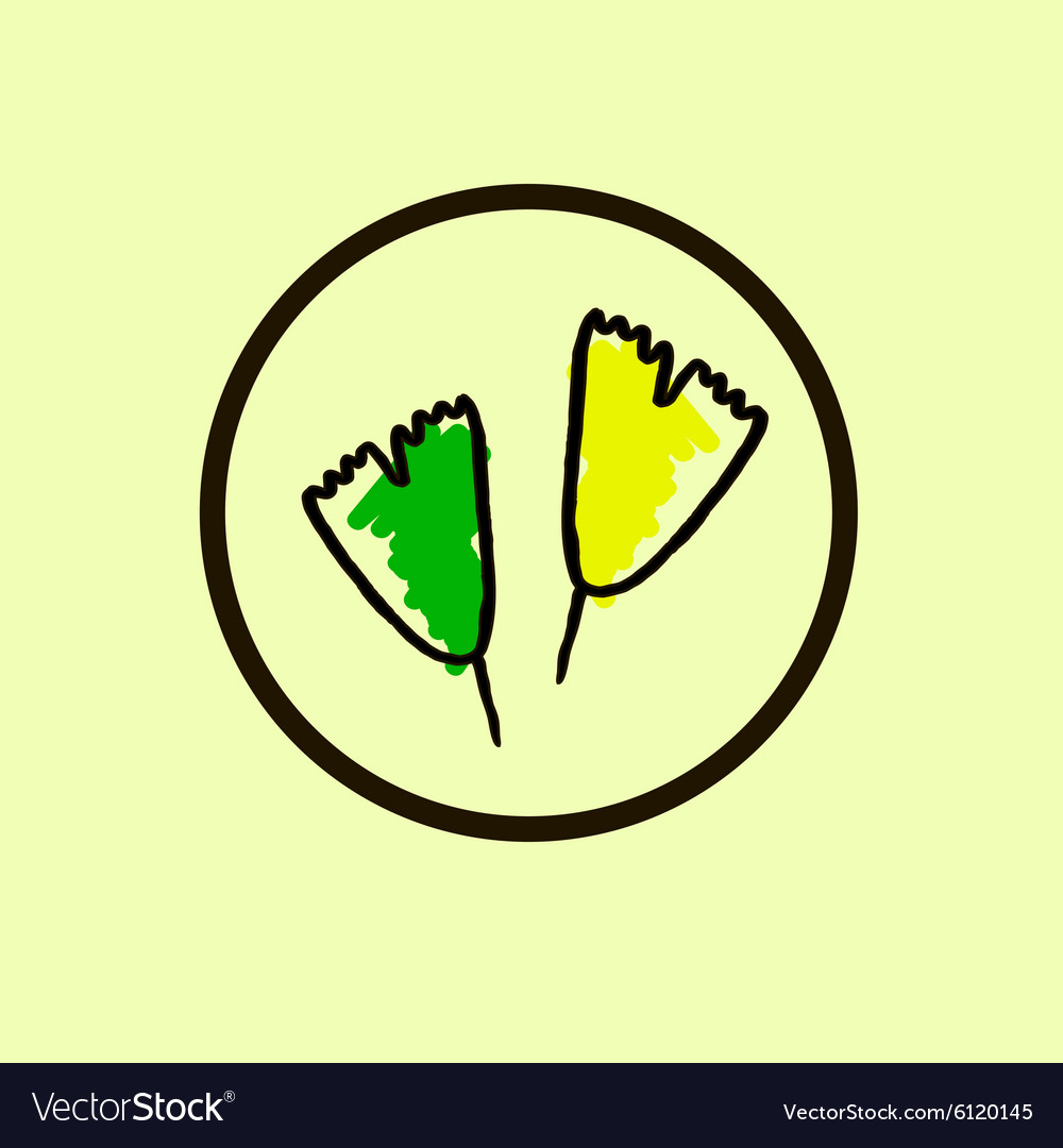 Ginkgo biloba stylizes leaves Icon of ginkgo