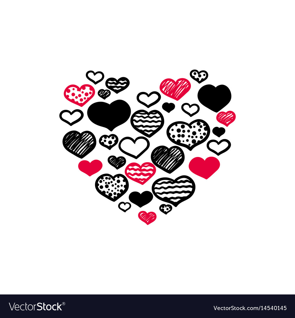 Hand-drawn heart vector image