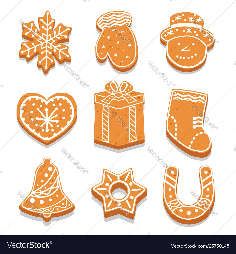 Set decorated gingerbread cookies different