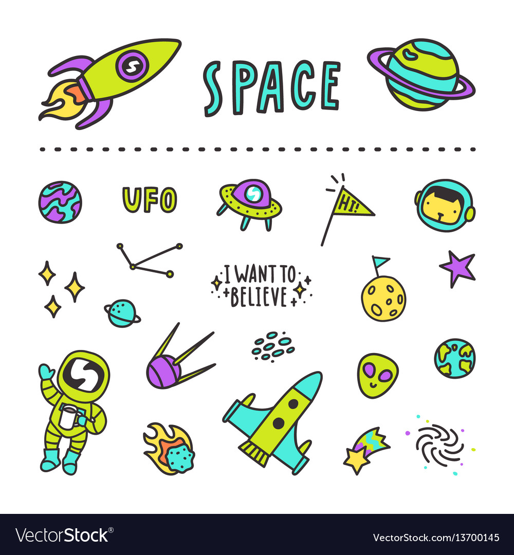 Set of space stickers
