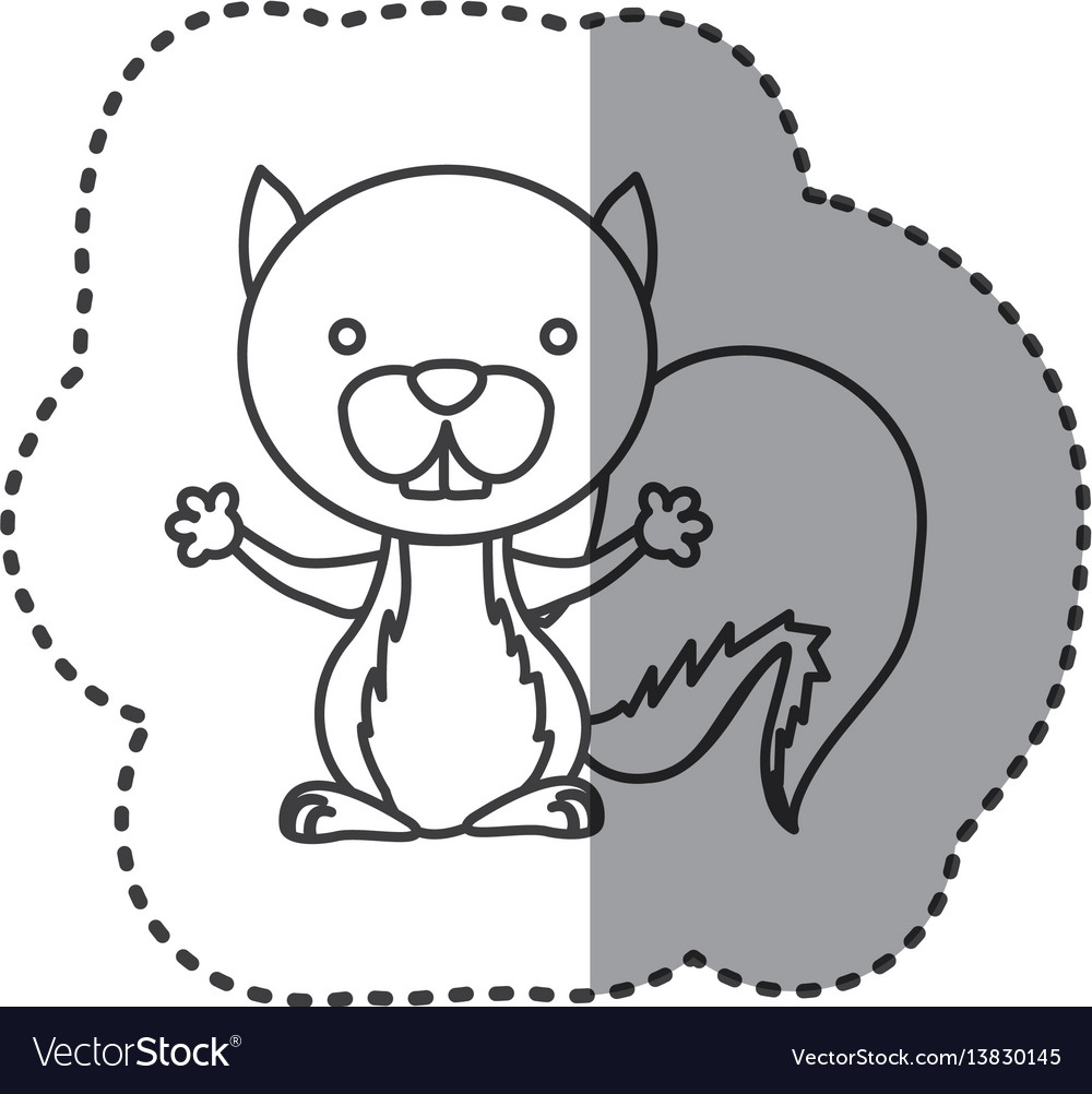 Sticker of grayscale contour of squirrel