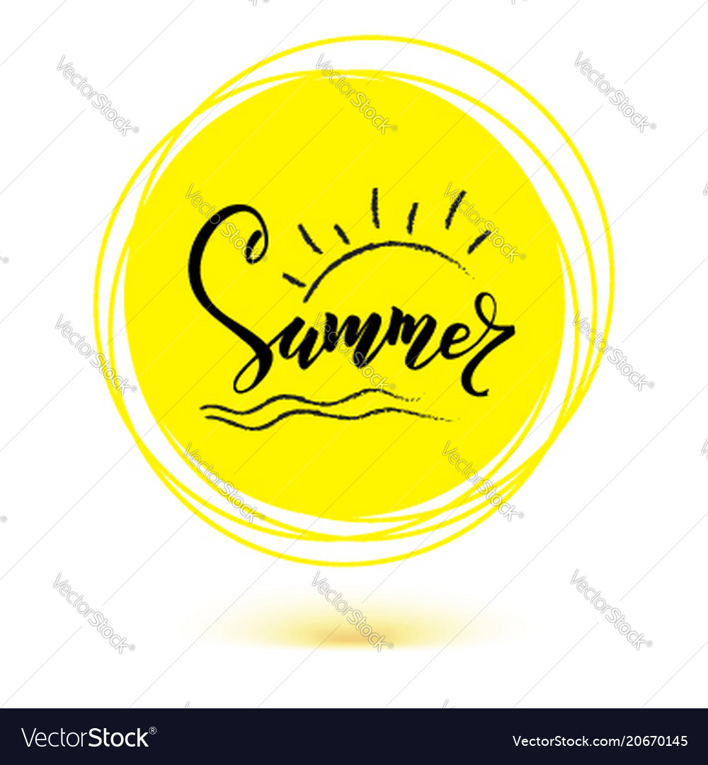 Summer hand lettering of text on yellow sun icon