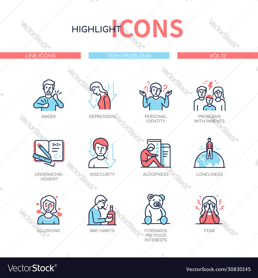 Teen problems - line design style icons set