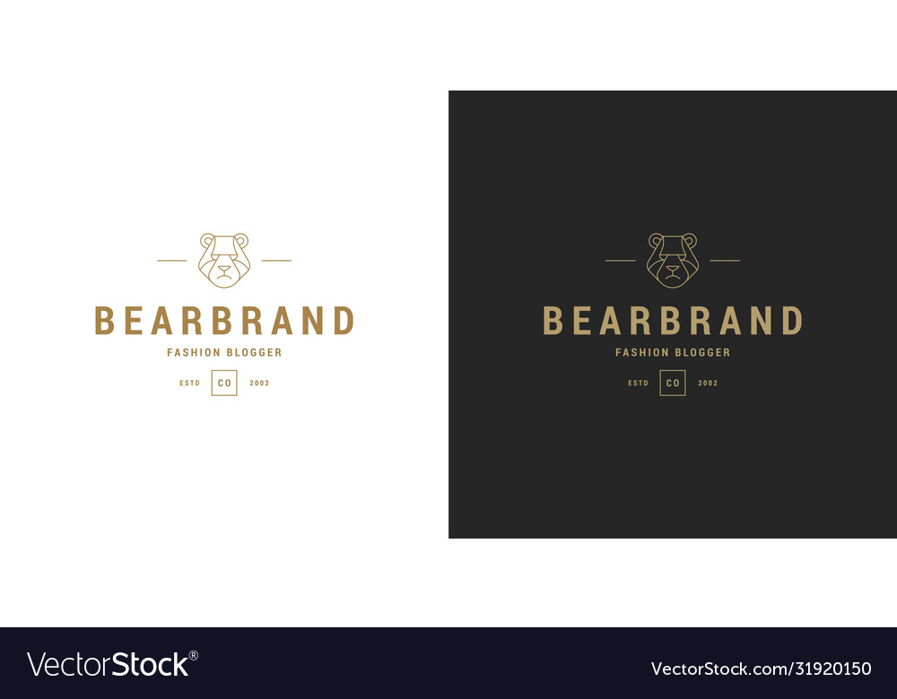 Bear head line symbol logo emblem design