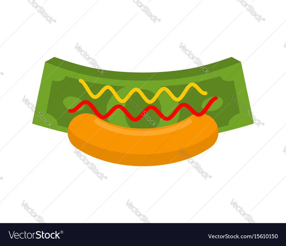 Business hot dog money in bun fast cash dollars