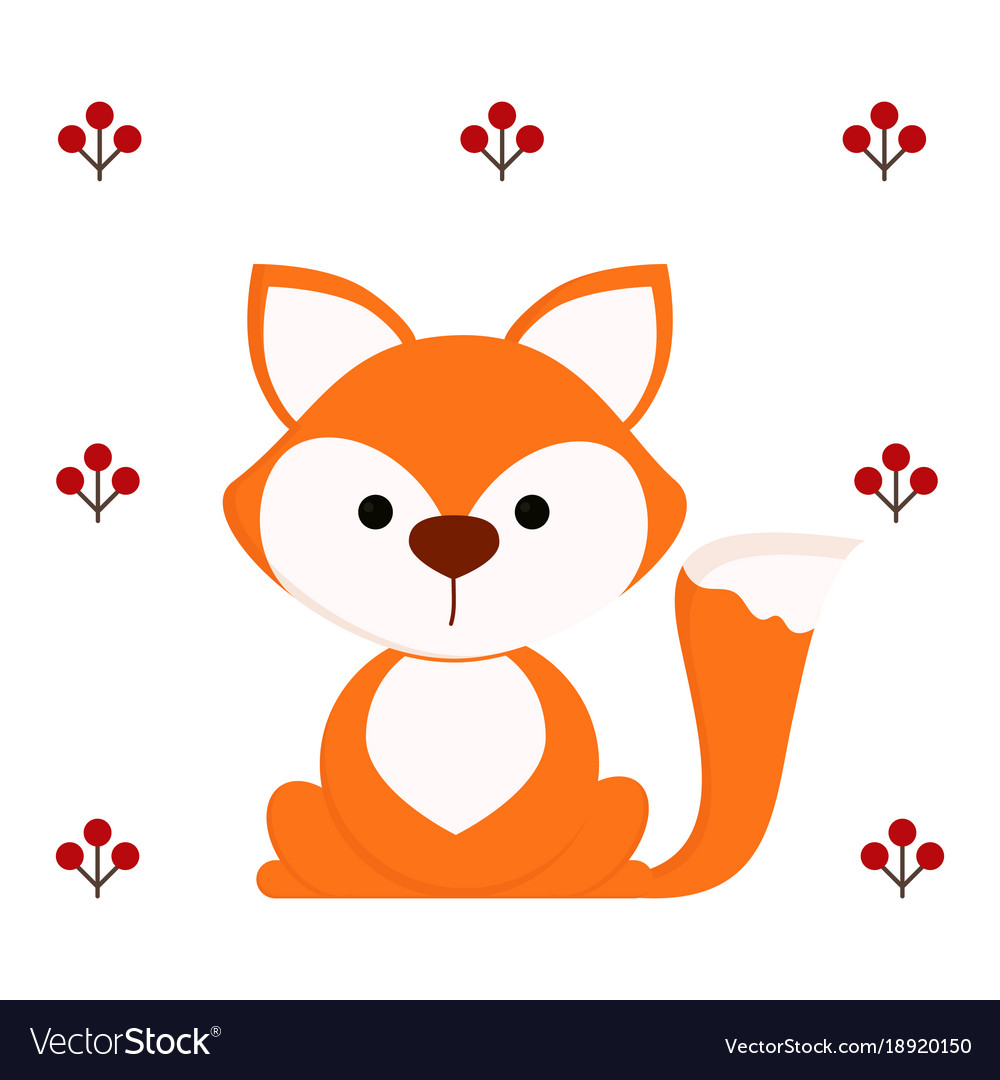 Cute fox on white background