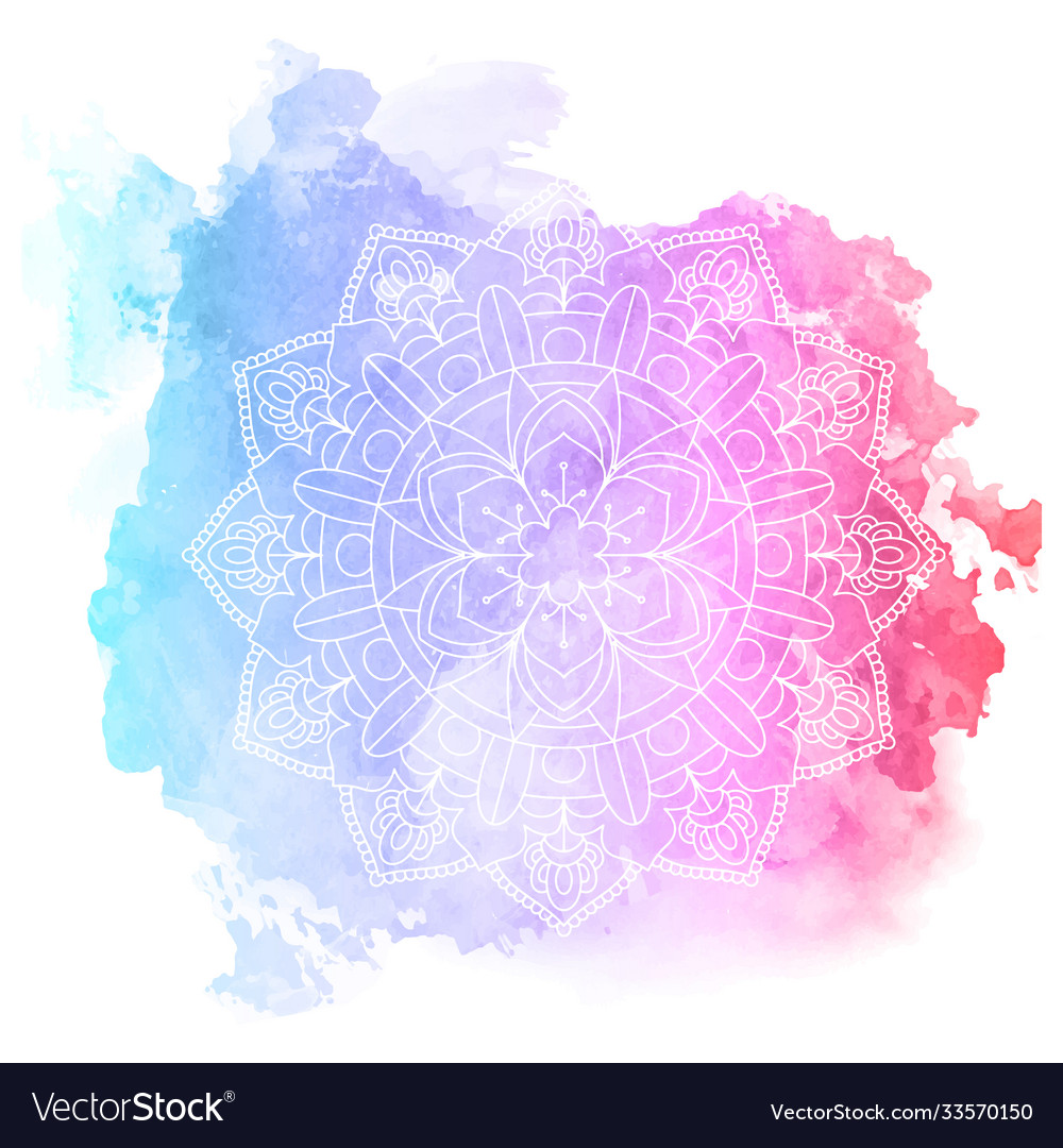 Decorative mandala design on watercolour texture