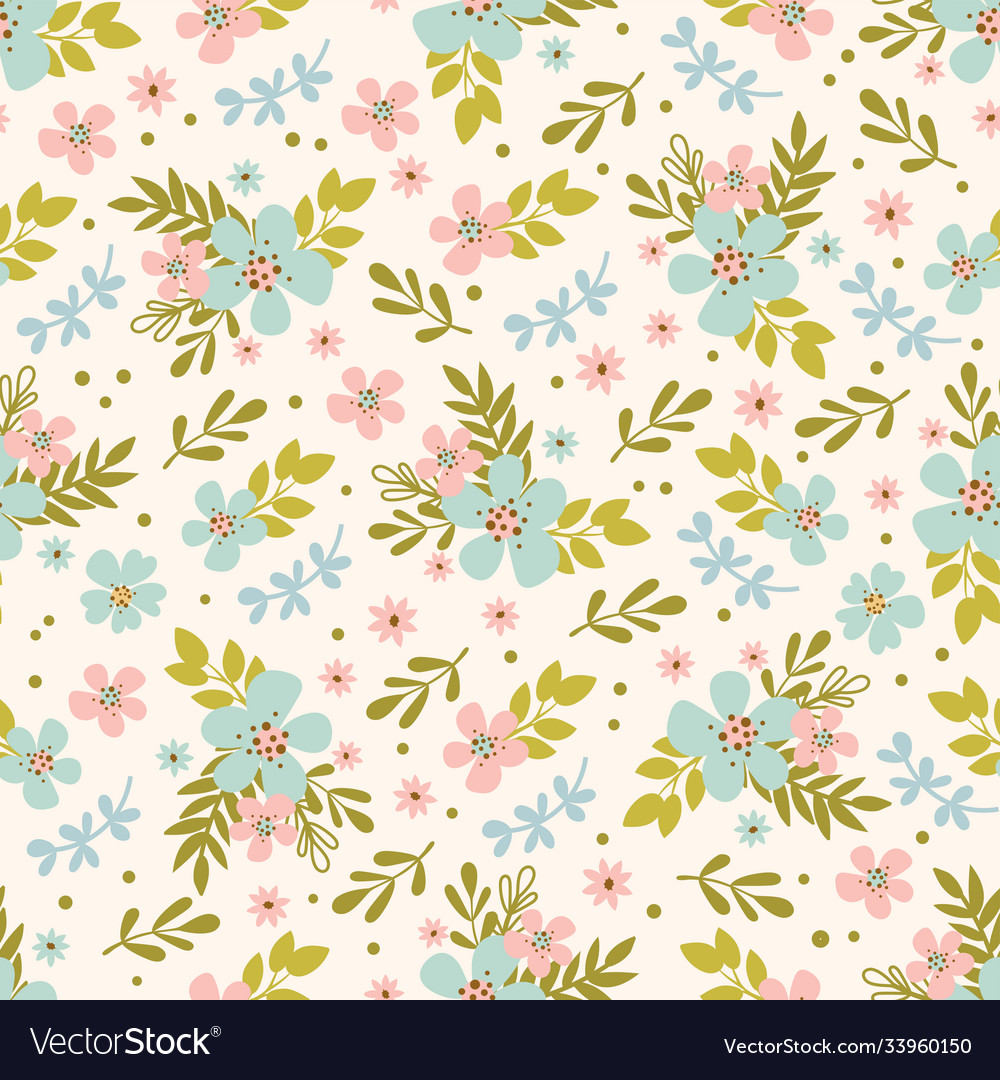 Floral bed hand drawn seamless pattern