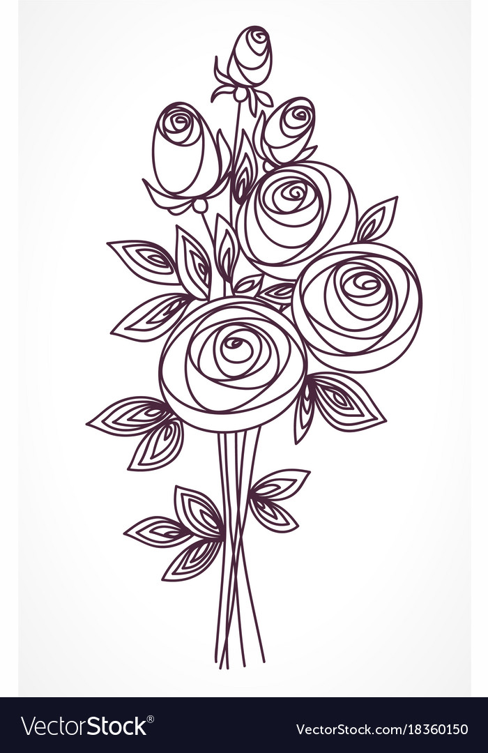 Flower bouquet stylized roses hand drawing Vector Image