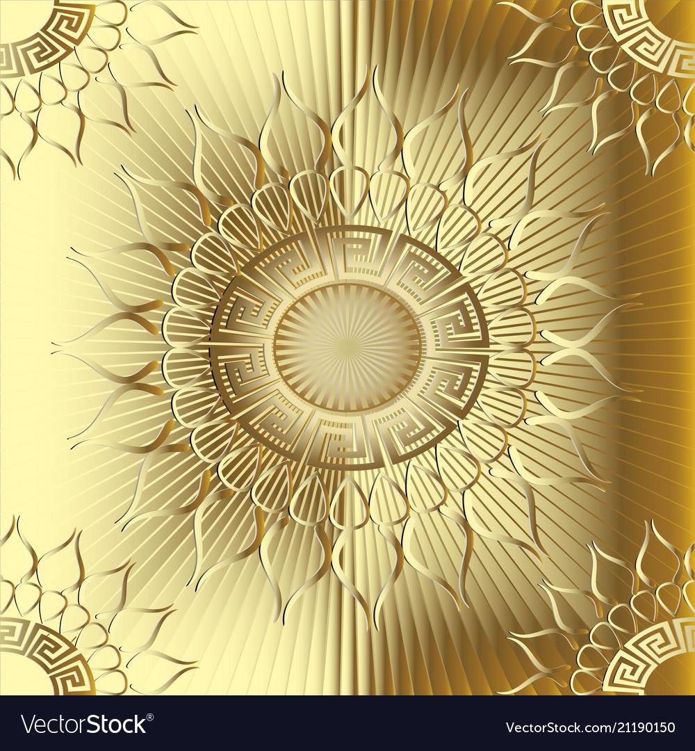 Gold 3d sunny greek seamless pattern