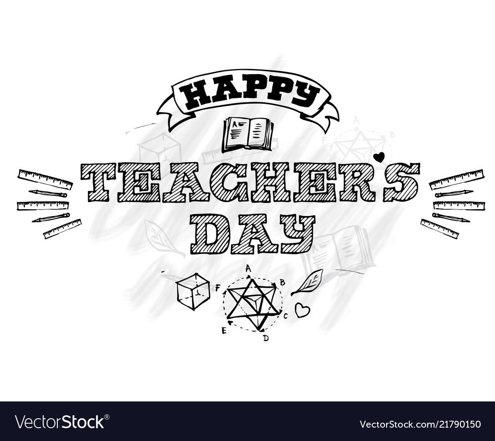 Happy teachers day lettering emblem