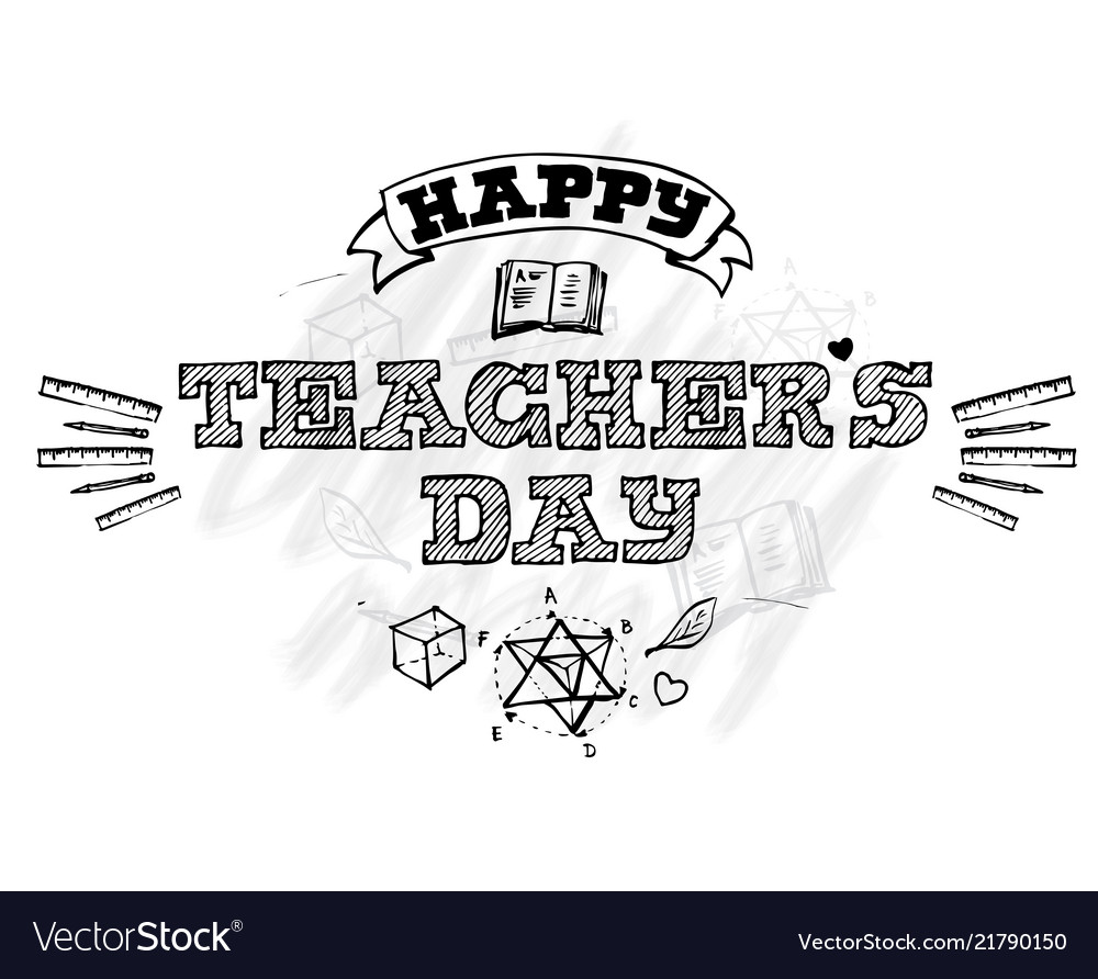 Happy teachers day lettering emblem with