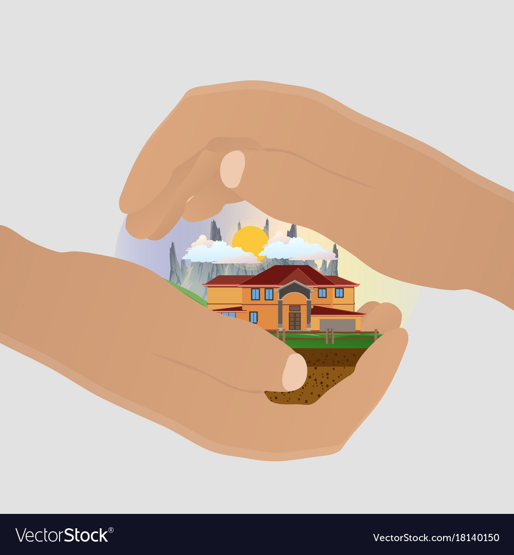 Insurance safe house home icon care hand concept vector image