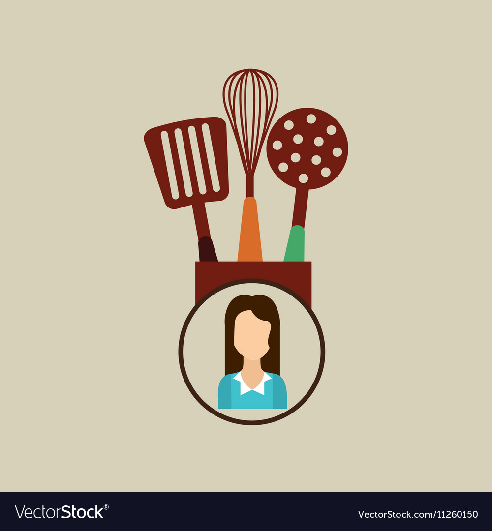 Kitchen utensils icon woman