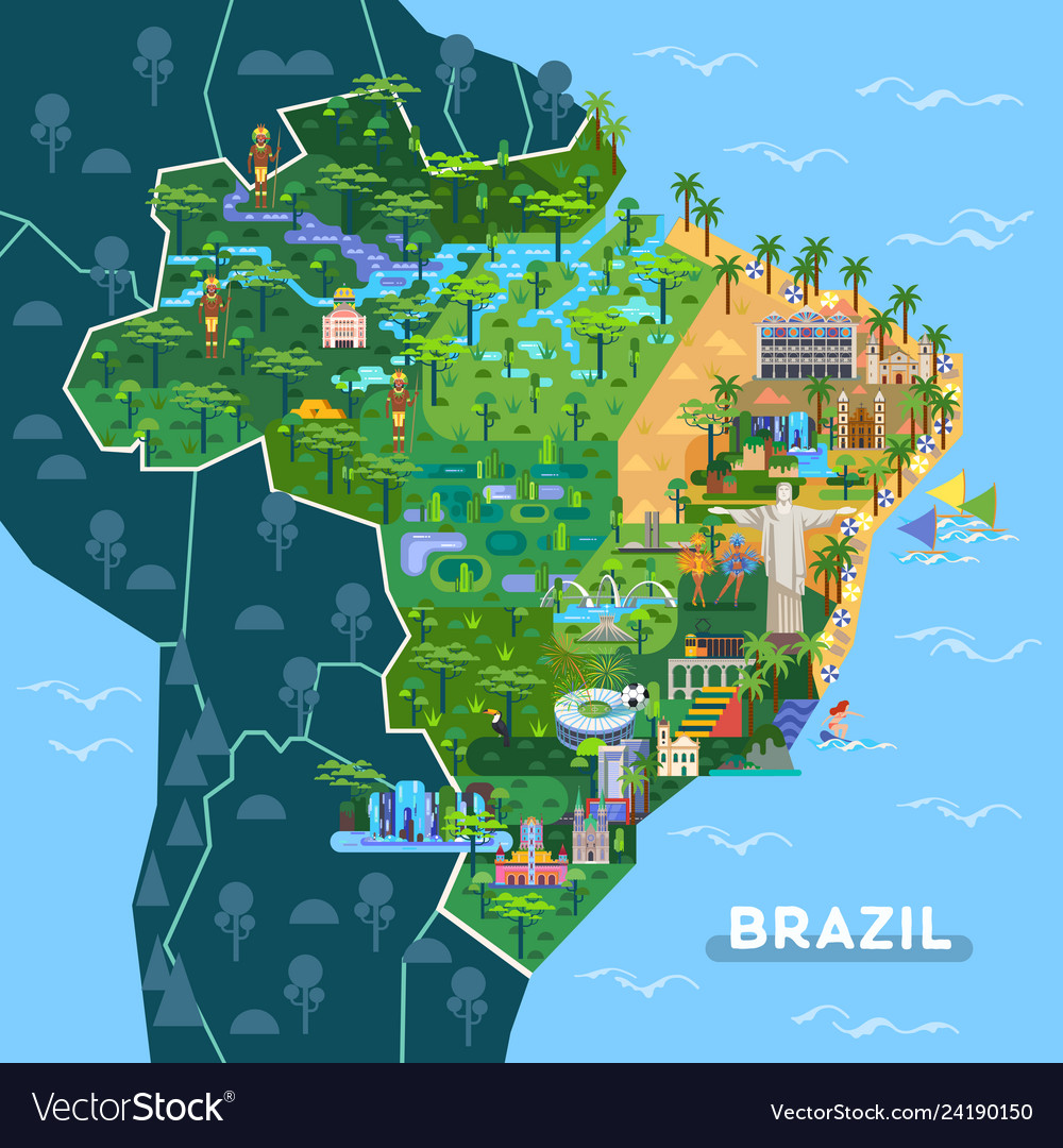 Picture of: Brazil Map Sightseeing Vector Images 24