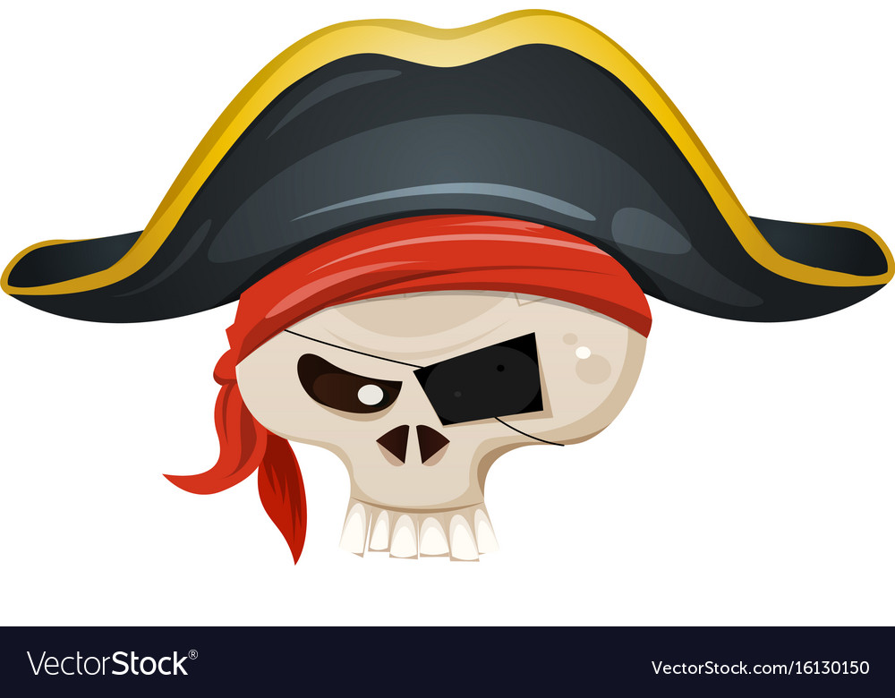 Pirate skull head vector image
