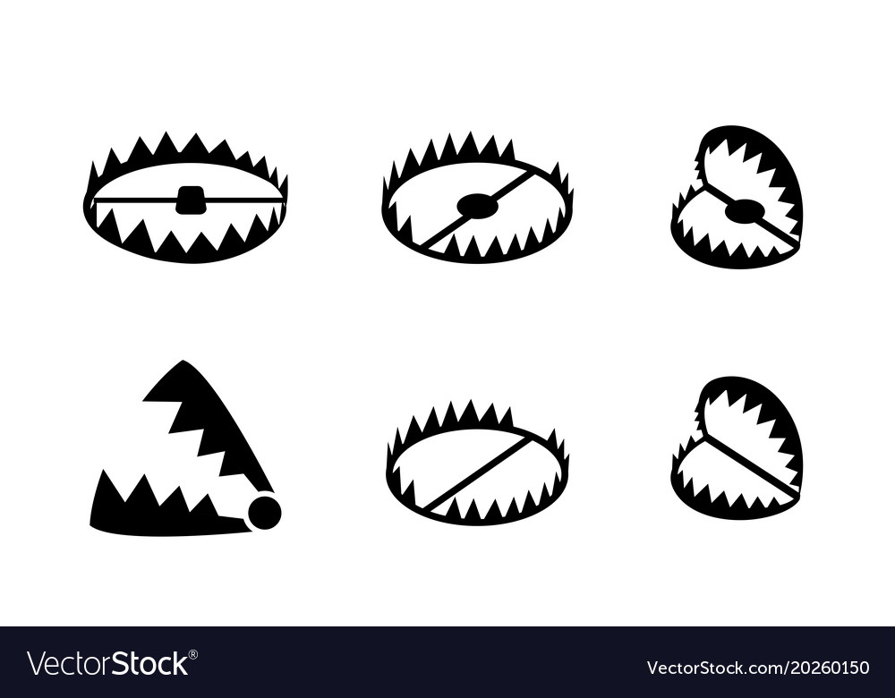 Set of bear trap icons and symbol in design