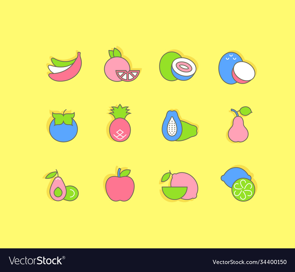 Set simple line icons fruits