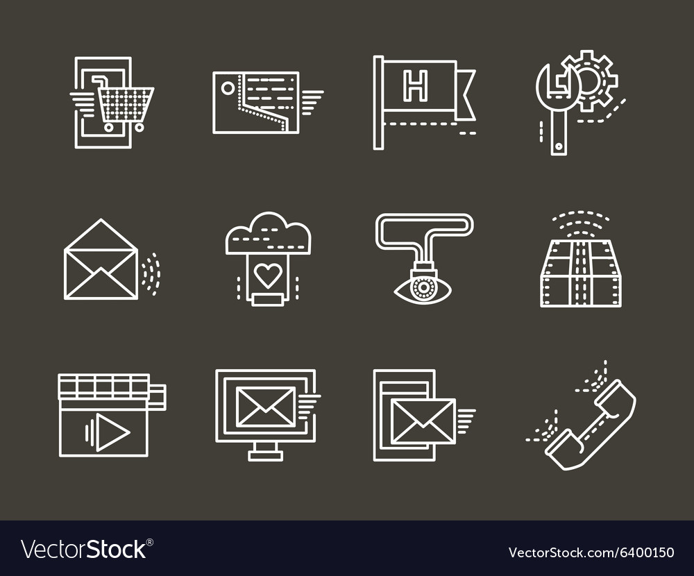 Simple white line online support icons set
