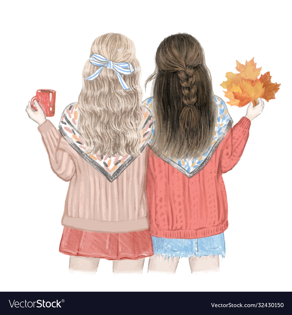 Two girls best friends in fall hand drawn