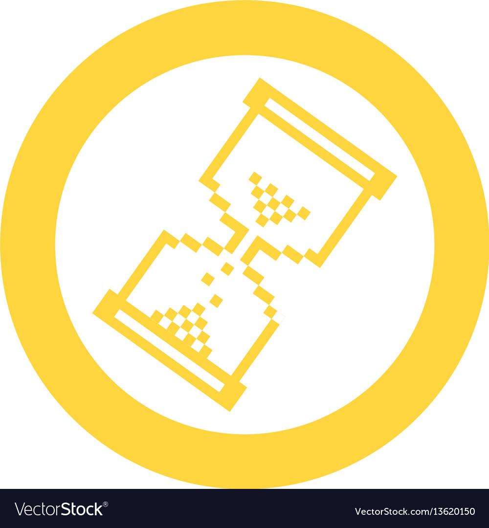Yellow blue symbol pixel hourglass cursor icon