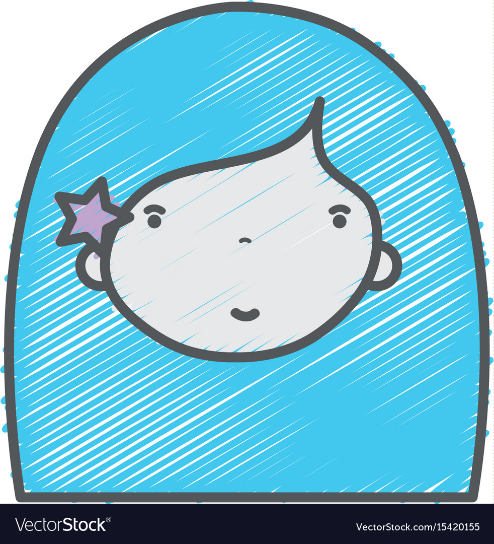 Beauty girl face with hairstyle to kawaii avatar
